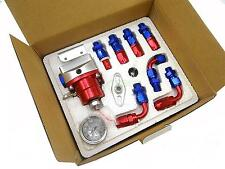 Universal Adjustable Fuel Pressure Regulator Kit + AN 6 Fitting+100psi Guage Red