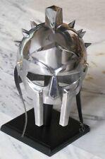 Medieval Maximus Decimus Meridius Gladiator Armor Helmet Costume Free Wood Stand