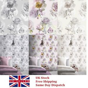 Arthouse Paste the Paper Floral Bloom Wallpaper in Blush, Mono & Silver options