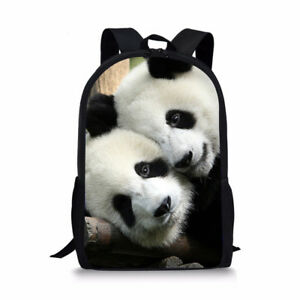 Trendy Animal Panda Print Backpack Mens Boys Shoulder Bookbag College Schoolbags