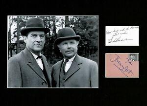 JEREMY BRETT AND EDWARD HARDWICKE SHERLOCK HOLMES SIGNED AUTOGRAPH DISPLAY UACC6