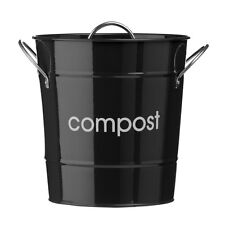 Black Galvanised Steel Home Kitchen Compost Waste Bin With Plastic Inner Bucket