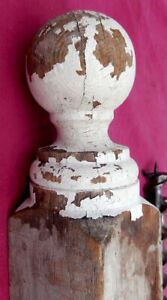 """Vintage Shabby White Wooden Fence or Gate Post with Finial 36"""" x 3 1/2"""" x 3 1/2"""""""