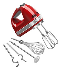 KitchenAid Empire Red 9-Speed Hand Mixer Mixing Kneading Whipping Blending, New