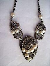 Delicate Art Deco Necklace w/ Faux Pearls & Diamonds *