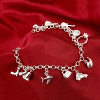New 925 Sterling Silver Filled Going Out Holiday Charm Bracelet Beads Chain Gift