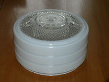 Nice VIntage Glass Clear & White Shade Ceiling Light Globe