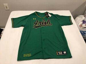 NWT $85.00 Under Armour Notre Dame Men Irish Replica Baseball Jersey Green XL