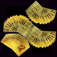 Luxury 24K Gold Foil Poker Playing Cards Waterproof Plastic Set w