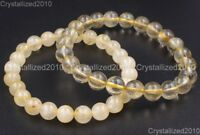 AAA Natural Gemstone Golden Rutilated Quartz Crystal Rock Round Beads Bracelet