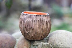 Handmade Rustic Round Succulent planter Ceramic pot for cactus plants Art bowl