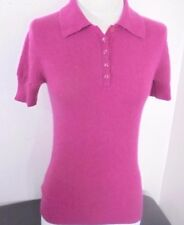 Old Navy Fuschia Pink Short Sleeve Sweater 100% Cashmere Womens M