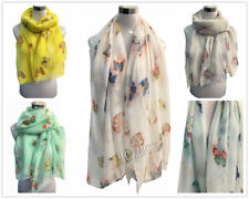 Long Summer Colourful Butterfly Print Pattern Shawl Scarf  Warp