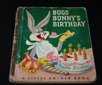 """Vtg Little Golden Book Bugs Bunny's Birthday First Edition """"A"""" 1950 1950s  -DDX="""