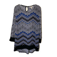Dana Buchman Women's Size XL Top 3/4 Sleeve Blouse Multicolor Tunic