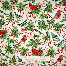 Happy Christmas Fabric - Country Birds & Holly Leaves Cream - Fabri Quilt YARD