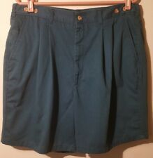 Grand Slam Men Shorts Green Cotton Size 38 Pleated Front