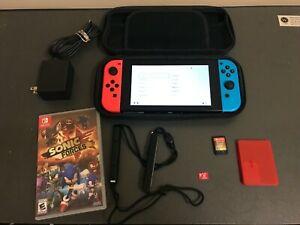 Nintendo Switch Blue / Red Joy-Con, Video Gaming Bundle *2 GAMES 128GB SD & CASE