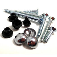 "12 x 1"" x 8g MIRROR SCREWS WITH 12 x CHROME DOME CAPS & 12 x RUBBER GROMMETS *"