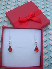 FUNKY RED DIAMANTE TEAR DROP EARRINGS KITSCH CUTE GIFT BOX PRESENT VALENTINE