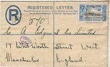 SIERRA LEONE 1941 KGVI POSTAL STATIONARY REGISTERED CENSOR ENVLEOPE TO ENGLAND