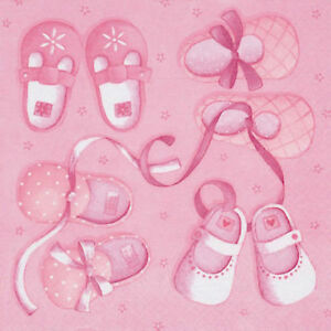 20 x Pink Baby Shoes Luxury 3 Ply Napkins Christening New baby Shower Birthday