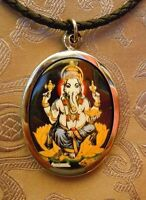 Schönes SILBER Buddha Amulett m. kl. Thangka: Ganesha