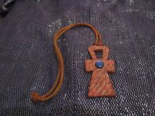 Fantastic leather bootlace style necklace with Coptic cross symbol also leather
