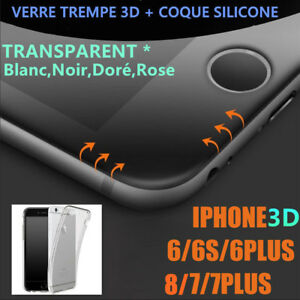 iPhone 8/7/6S/6/Plus + VITRE VERRE TREMPE 3D Film Protection Ecran + COQUE TPU