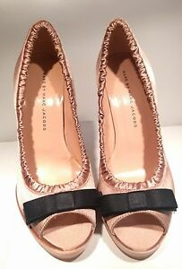 New Marc By Marc Jacobs Black Satin Peep Toe Bow Ruffled Pump blush nude rose 38