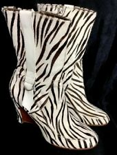 Donald Pliner Boots Black And White Holly Zebra Calf Hair Wedge Size 10
