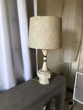 "Mid Century Vintage Lamp W/ Fiberglass Lamp Shade Modern Atomic Retro 28"" H"