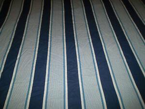 Pottery Barn Kids F/Q Duvet Cover Blue White Nautical Stripe Red Trim Buttons