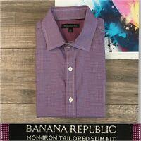 Banana Republic Men's Button Front Shirt Long Sleeve Slim Fit Sz Medium Gingham