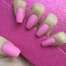Hand Painted Full Cover False Nails. Coffin/Ballet Matte Pink