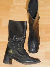 Vintage Bottes cuir noir, 90 Style, bout carré Bloc talon