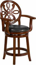 26'' High Brandy Wood Counter Height Stool with Arms Carved Back New