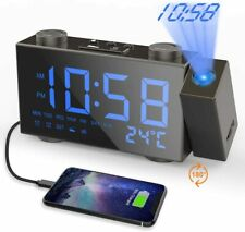 Moskee Projection LED Digital Dual Alarm Clocks for Bedroom with FM Radio