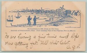 Provincetown Massachusetts~First Landing Place of Pilgrims Drawing~c1905 Postcar