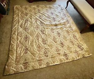 """Queen Size Floral Gold Olive Cranberry Reversible Diamond Stitch Comforter 92"""""""