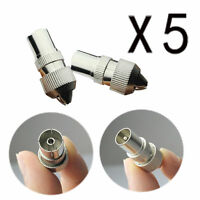 5 X Male 5 X Female Tv Aerial Coaxial Cable Connectors Plugs Sockets Coax