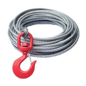Replacement 12mm x 30m Galvanised Steel Wire Winch Rope Cable With Swivel Hook