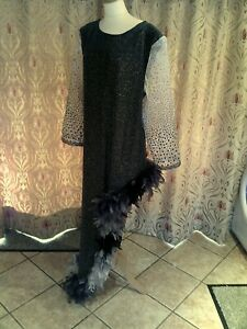 Drag Queen Black/Silver1sided dress, matching turban Black/grey feathers 22/24