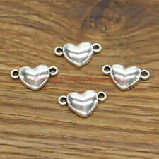 50 Heart Love Connectors Charms Wedding Valentine Family Antique Silver 17x10