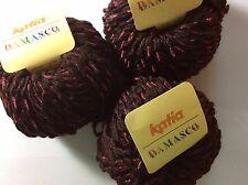 LOT of 3 Katia Damasco #14 Brown Pink Wrapped Wool Bulky Yarn 3x50gr=132Yards