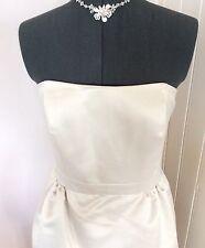 Classy Vintage Tea Style Knee Length Strapless Satin Bridal Wedding Dress Size 8