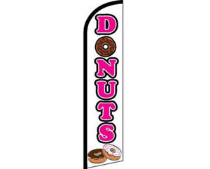 Donuts White / Pink Windless Banner Advertising Marketing Flag