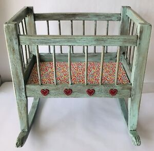 Wood Doll Cradle Crib Vintage Hand Built Newly Hand Painted Cottage 17 x 17 x 12