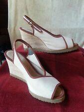 Vtg 70s Canvas Sandals Shoes Slingback Beige Brown Trim Platform Rope Wedge 8M