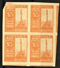 Guatemala Scott # 206a variety Printed on both side Block of 4 Unlisted Vf Rare!